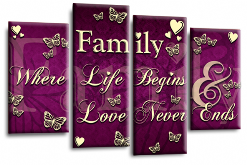 Family Quote Canvas Wall Art Picture Print Purple Cream Grey